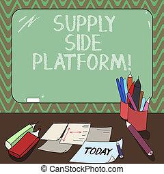 dodatek, fotografie, nad, desk., otesat dlátem, reklamy, puts, systém, dílo, pojmový, povolání, tabule, showing, platform., rukopis, plochy, automatizovaný, jízdní, up, křída, showcasing, stěna, software