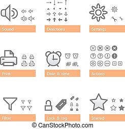 dodatek, uniwersalny, część, software, set., ikona