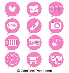 dodatni, telefon, ikony, ruchomy