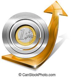 dodatni, -, wzrost, strzała, pomarańcza, euro