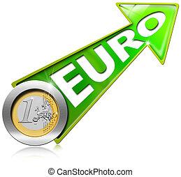 dodatni, -, wzrost, zielony, strzała, euro
