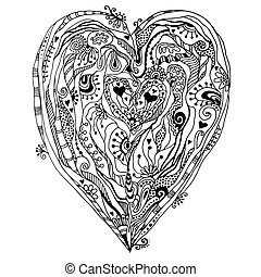 doddle, heart., original, dessin
