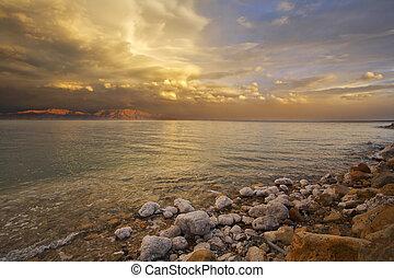 dode zee, israël, kust, thunder-storm., lente