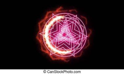 dodecagon, magie, puissant, arme, accabler, autour de, puissance, brûler, rose
