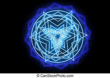dodecagon, puissance, arme, rose, magie, puissant, autour de, brûler