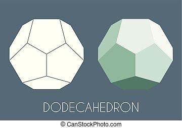 Solide platonique dodécaèdre. Vecteur De Géométrie Sacrée.