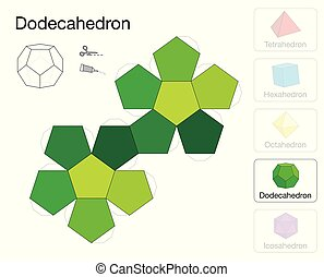 Dodecahedron Platonic Solid Template Paper Model -...