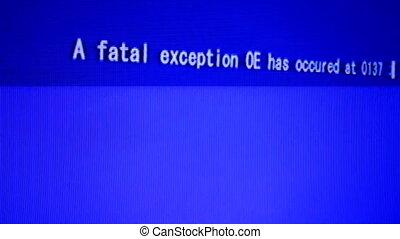 dodelijk, fout, data, op, computerscherm