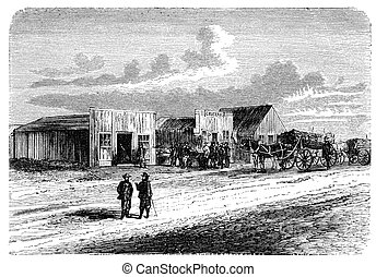 """A View from Doge City, Kansas, USA. Illustration originally published in Hesse-Wartegg's """"Nord Amerika"""", swedish edition published in 1880. The image is currently in Public domain by virtue of age."""