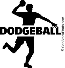 Dodgeball player with word