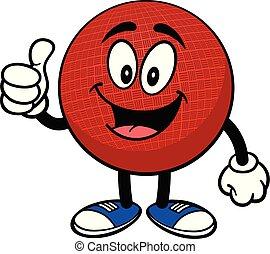 dodgeball, pouces haut, mascotte