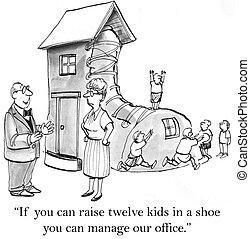 dodici, bambini, aumento, scarpa, lei, se, lattina