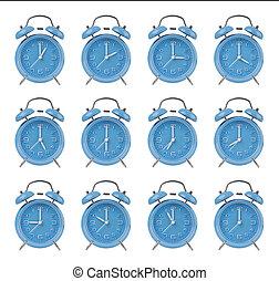 dodici, cima, clocks, allarme, ora