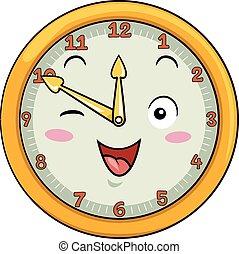 dodici, mascotte, orologio, secondo, cinquanta