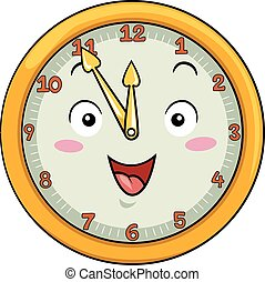 dodici, orologio, secondo, cinquanta, cinque, mascotte