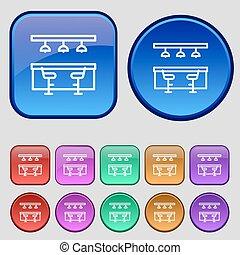 dodici, set, sbarra, ristorante, vendemmia, segno., bottoni, vettore, icona, tuo, design.
