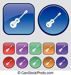 dodici, set, vendemmia, segno., chitarra, bottoni, vettore, acustico, icona, tuo, design.