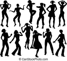 dodici, silhouette, ragazze, ballo