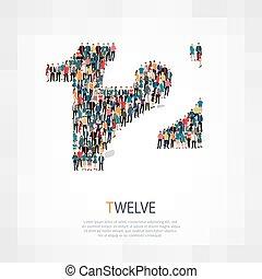 dodici, simbolo, persone