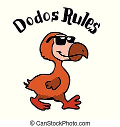 Dodo rules - crazy bird cartoon. vector illustration