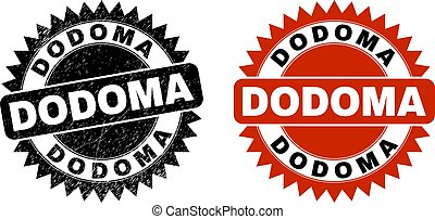 Black rosette DODOMA watermark. Flat vector scratched watermark with DODOMA message inside sharp rosette, and original clean source. Watermark with corroded texture.