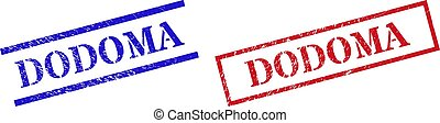 Grunge DODOMA rubber stamps in red and blue colors. Stamps have rubber texture. Vector rubber imitations with DODOMA tag inside rectangle frame, or parallel lines. Design style imitates dirty effect.
