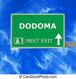 DODOMA road sign against clear blue sky