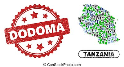 Vector Covid-2019 winter collage Tanzania map and Dodoma unclean stamp print. Dodoma stamp seal uses rosette shape and red color. Collage Tanzania map is created with scattered viral, snowflake,