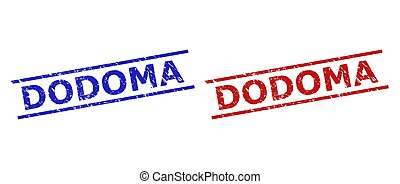 Blue and red DODOMA seal stamps on a white background. Flat vector scratched seal stamps with DODOMA phrase between 2 parallel lines. Imprints with corroded surface.