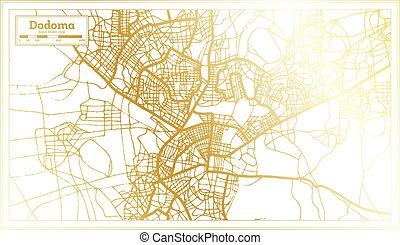 Dodoma Tanzania City Map in Retro Style in Golden Color. Outline Map. Vector Illustration.