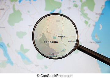Dodoma, Tanzania. Political map. City visualization illustrative concept on display screen through magnifying glass.