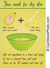 doe het zelf, avocado, confronteren vermomming, voor, droog, huid