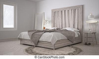 Headboard, houten bed, scandinavische, eco, ontwerp, doe het zelf ...