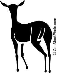 silhouette shape of a doe, female deer or antelope