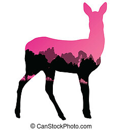 Doe venison deer animal silhouettes in wild nature forest ...