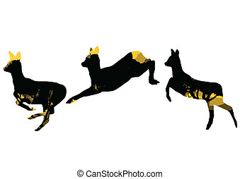 Doe venison deer animal silhouettes in wild nature forest landscape abstract background illustration vector