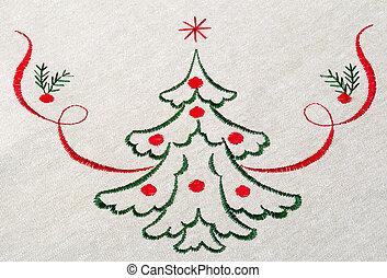 doek, boompje, kerstmis