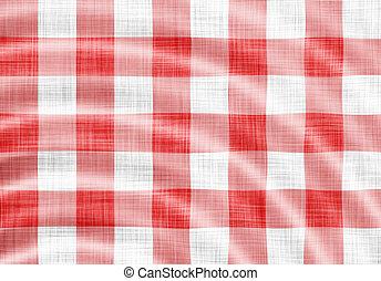 doek, golvend, picknick, rood
