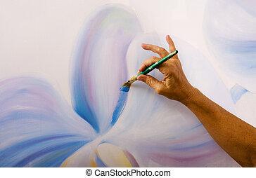 doek, haar, kunstenaar, phalaenopsis, studio, vrouwlijk, schilderij, orchids