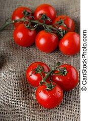 doek, jute, sappig, rode tomaten