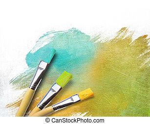 doek, kunstenaar, geverfde, borstels, afgewerkt, helft