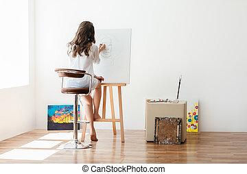 doek, kunstenaar, studio, vrouwlijk, schilderij, achterk bezichtiging