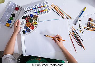 doek, kunstenaar, verheven, papier, schilderij, aanzicht