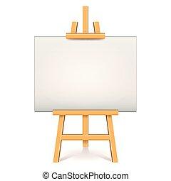 doek, vector, vrijstaand, illustratie, hout, witte , schildersezel