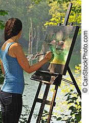 doek, vrouw, buiten, artistiek, acrylic schilderstuk