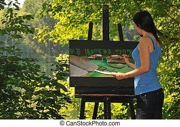doek, vrouw, jonge, scène, acrylic schilderstuk
