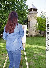 doek, vrouw, schilderij, jonge, buiten