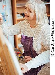 doek, vrouw, schilderij, verrukt