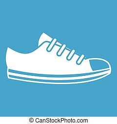 doek, witte , sneaker, pictogram