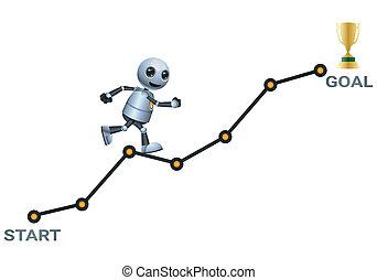 doel, bereiken, bewjizen, weinig; niet zo(veel), 3d, tabel, illustratie, robot, klimmen, oplopend